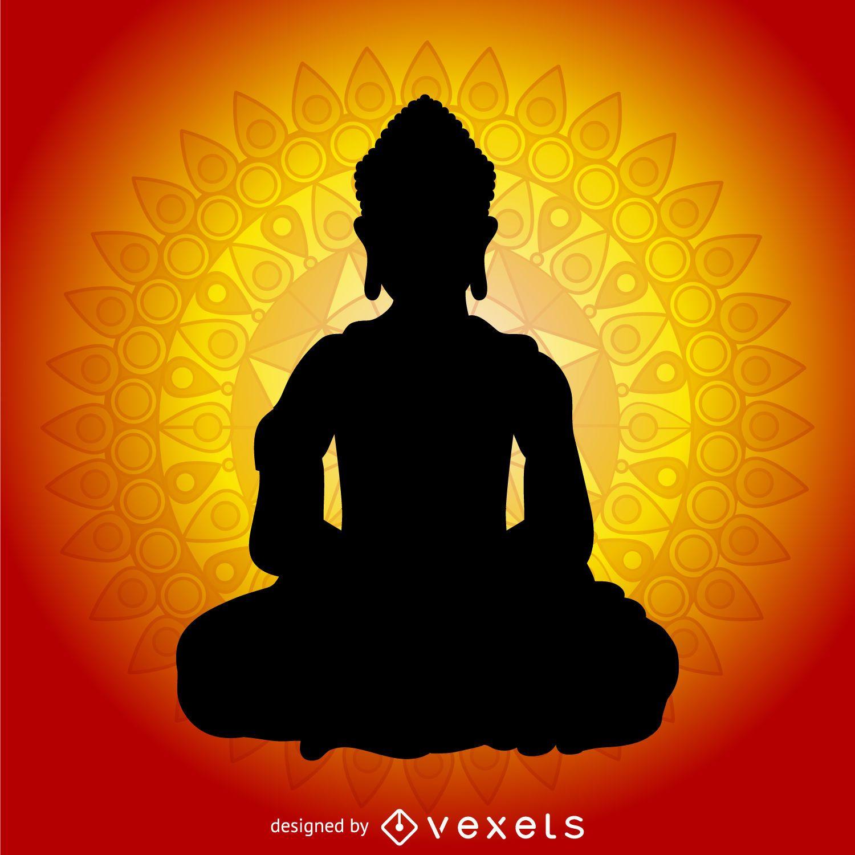 Silueta Budismo Con La Mandala Descargar Vector