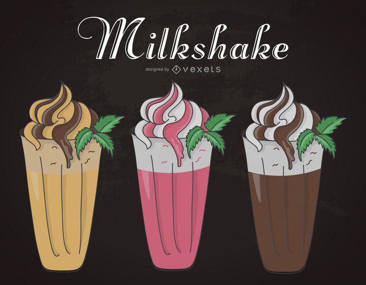 Milkshake illustration set