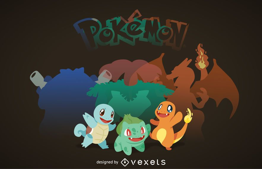 Ilustração de Pokémon iniciante