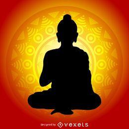Buddha silhouette along mandala