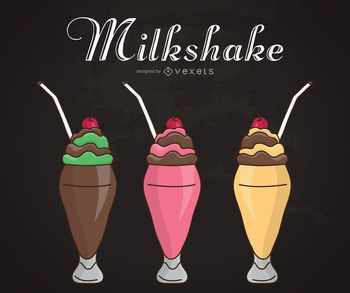 Chalkboard milkshake illustrations