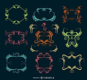 Coleção de quadros de redemoinho ornamental