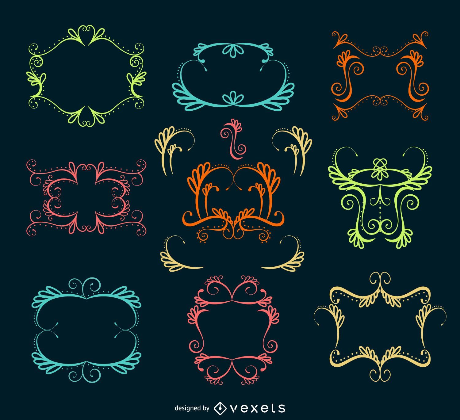 Ornamental swirl frame collection