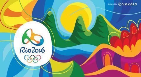 Fundo colorido abstrato dos Jogos Olímpicos Rio 2016