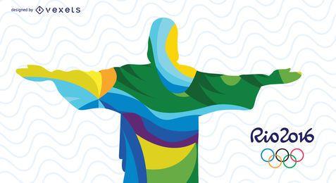 Rio Olympics Cristo Redentor design abstrato