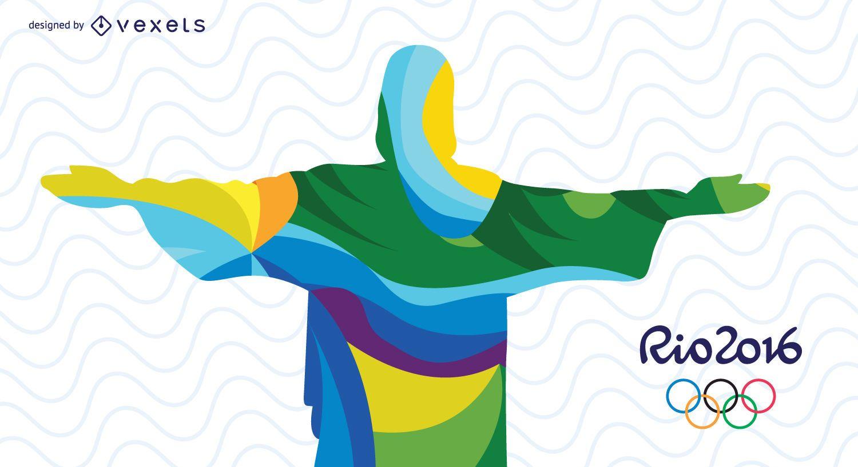 Projeto abstrato do Cristo Redentor das Olimpíadas do Rio