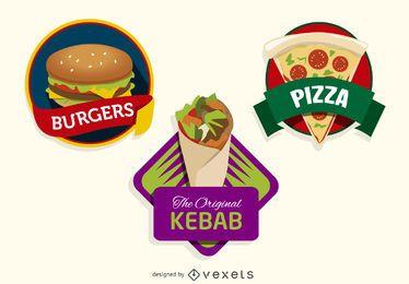 3 coloridos logotipos de comida rápida