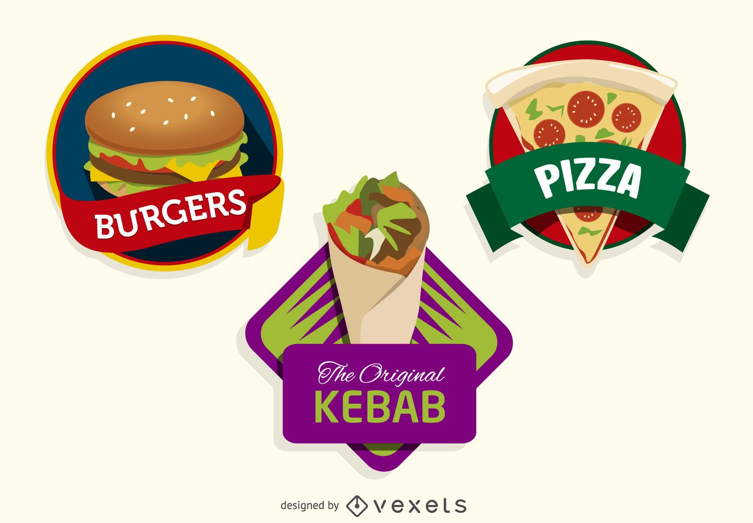 3 colorful fast food logos