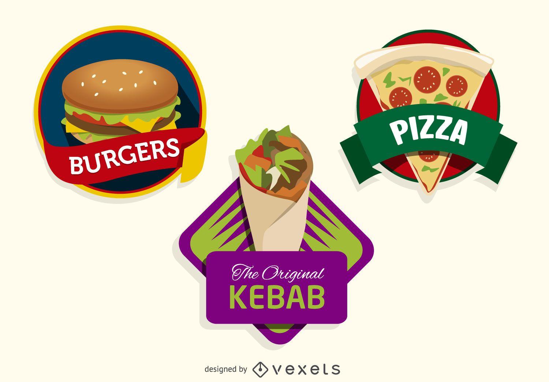 3 logos coloridos de comida r?pida