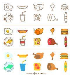 Conjunto de ícones de comida de três estilos