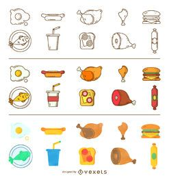 Conjunto de iconos de alimentos de tres estilos