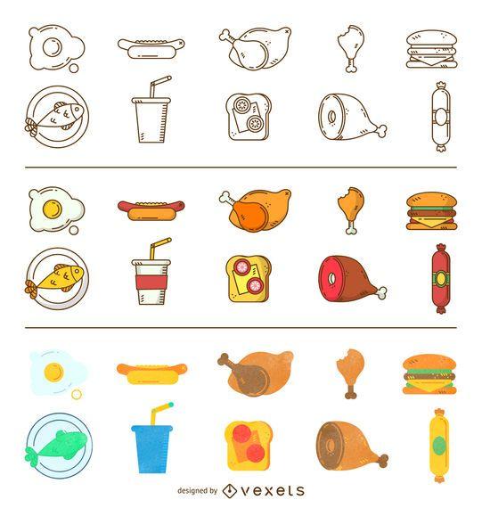 Conjunto de iconos de comida de tres estilos