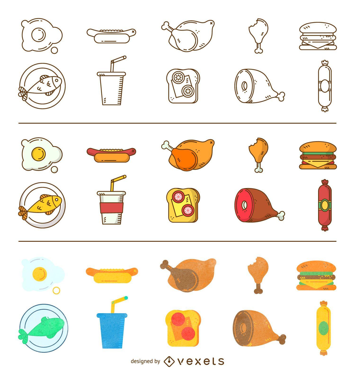 Three styles food icon set