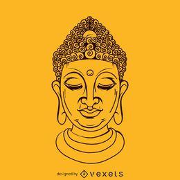Ilustração de rosto de Buda