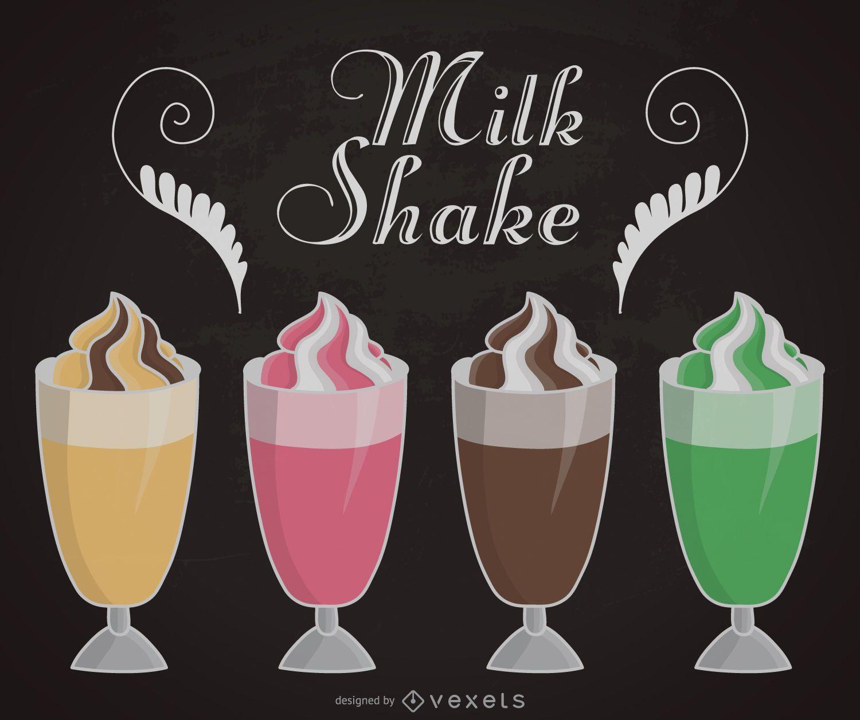 Milkshake illustrations set
