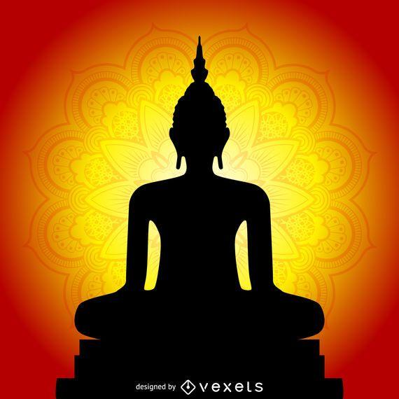 Silhueta de monge com mandala