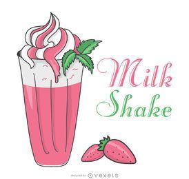 ilustração milkshake de morango