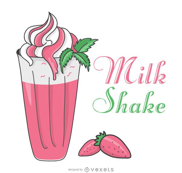 Strawberry milkshake illustration