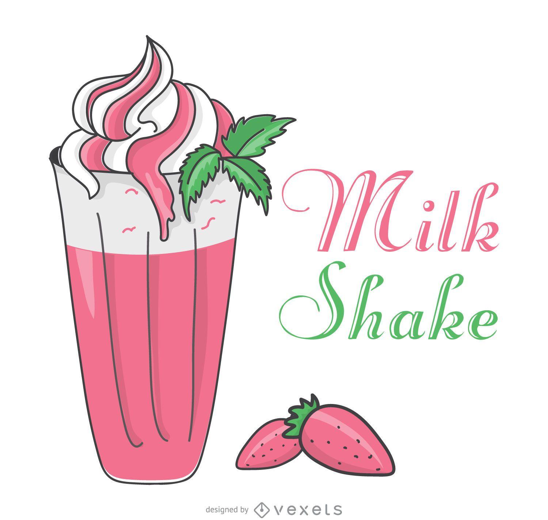 Strawberry milkshake illustration