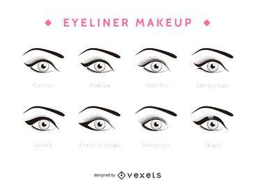 Arten von Eyeliner-Set