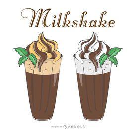 Ilustraciones de retro milkshake
