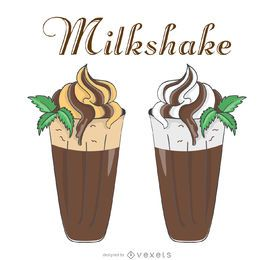 Retro milkshake illustrations