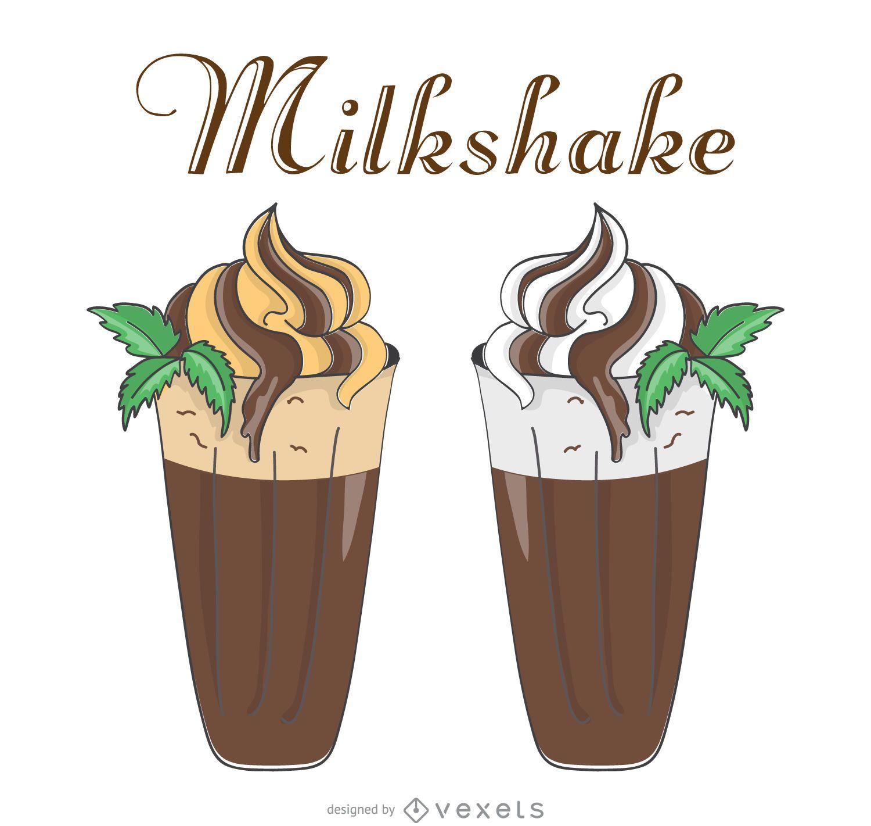 Retro milkshake illustrations