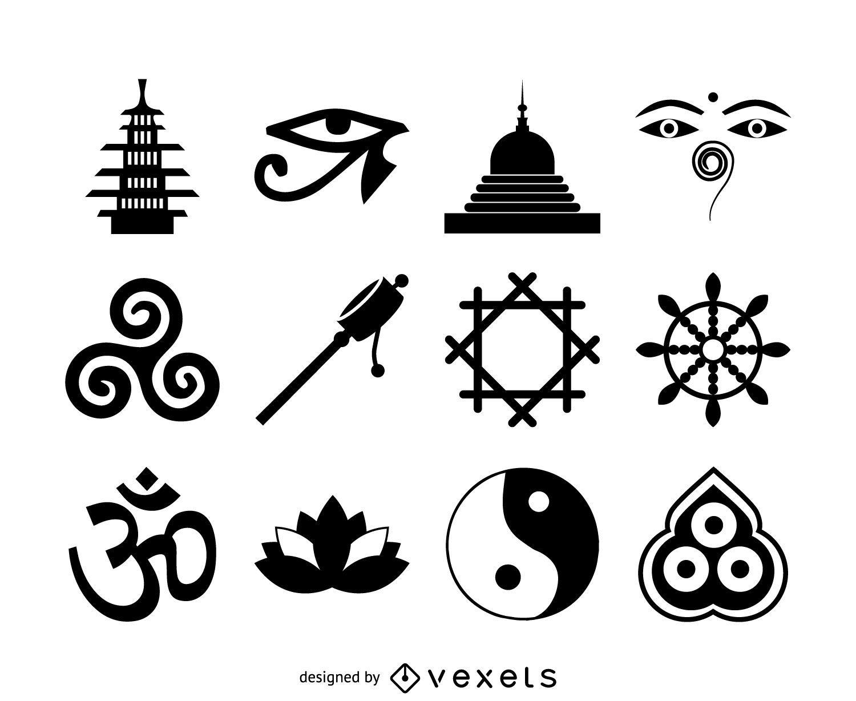 Conjunto de iconos de budismo