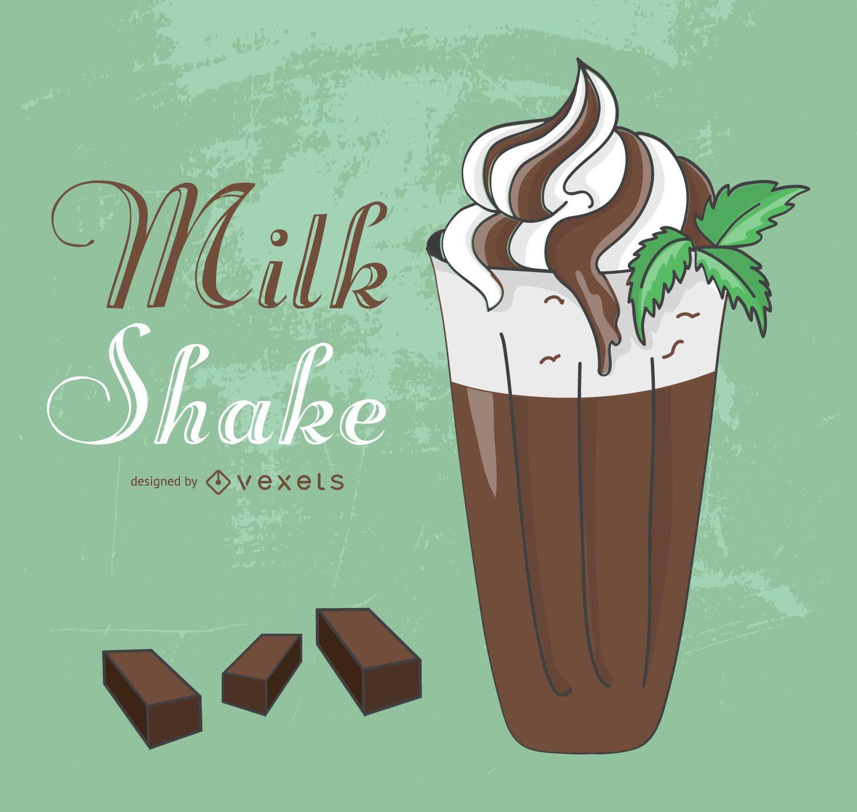 Chocolate and cream milkshake illustration