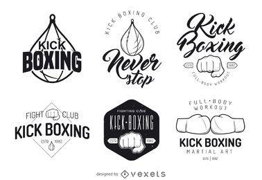 Coleção de modelo de logotipo de kickboxing