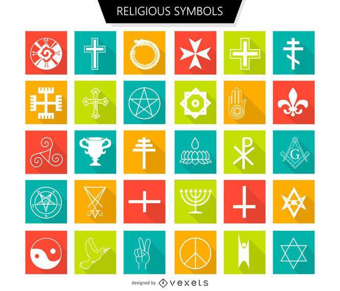 Conjunto de símbolos religiosos