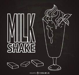 Cartaz de milkshake de mão desenhada