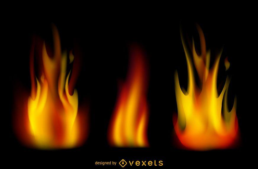 Conjunto de chamas de fogo realista