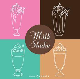 Conjunto de ilustração de contorno de Milk-shake