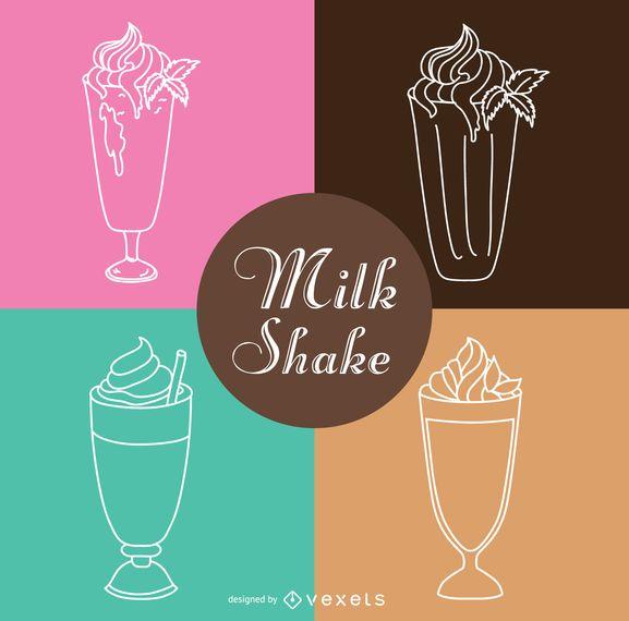 Milkshake outline illustration set