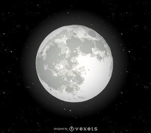Ilustración realista de la luna