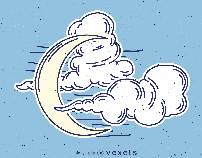 Dibujo de luna con nubes