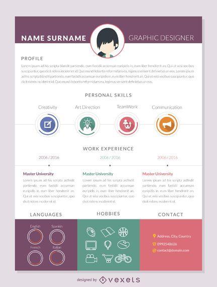 Flat resume mockup template