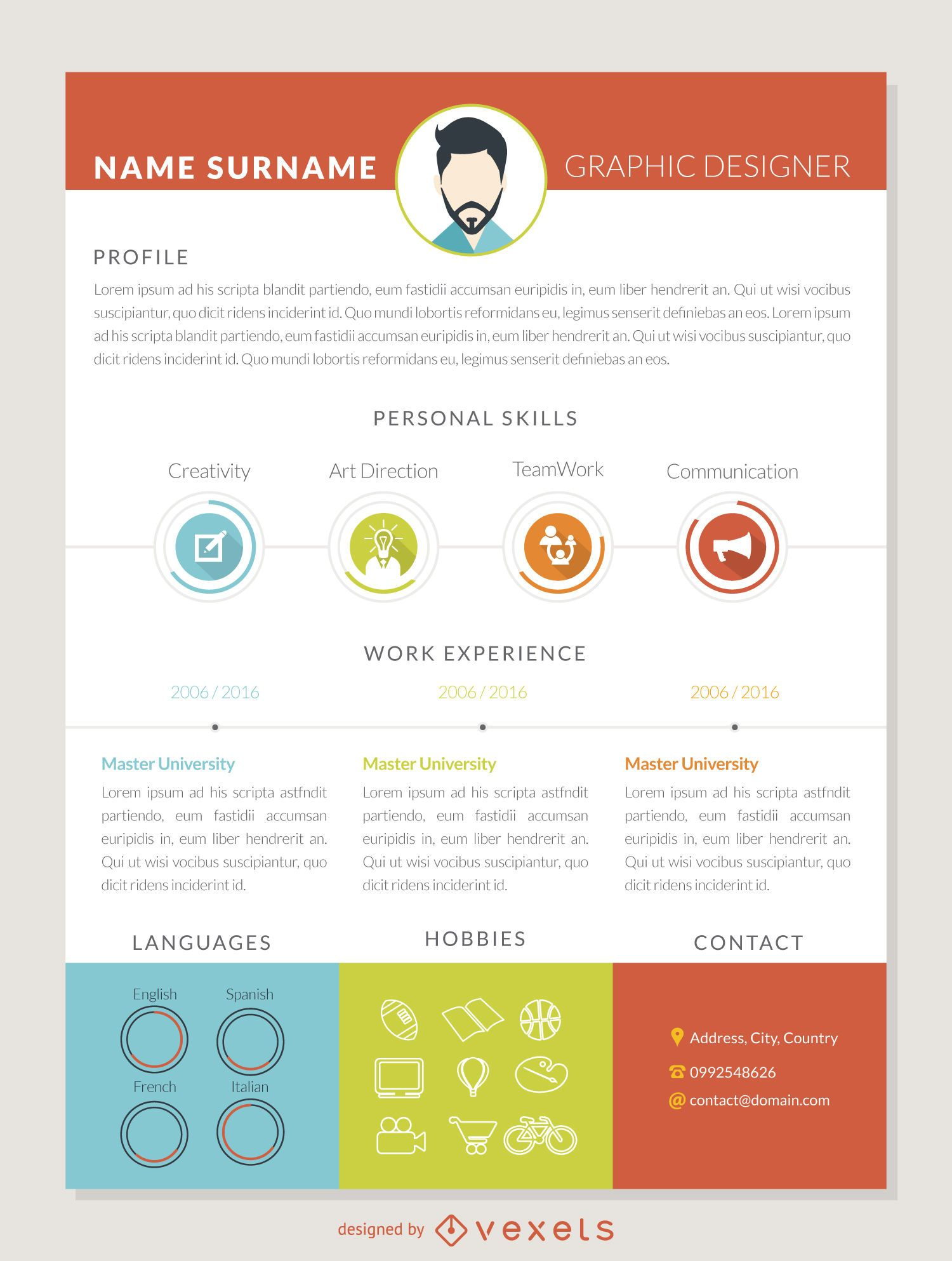 graphic designer resume cv vector graphic designer curriculum mockup template
