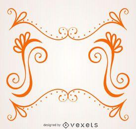 Orange Rahmen mit Strudeln