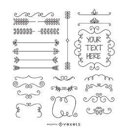 Doodle conjunto de adornos