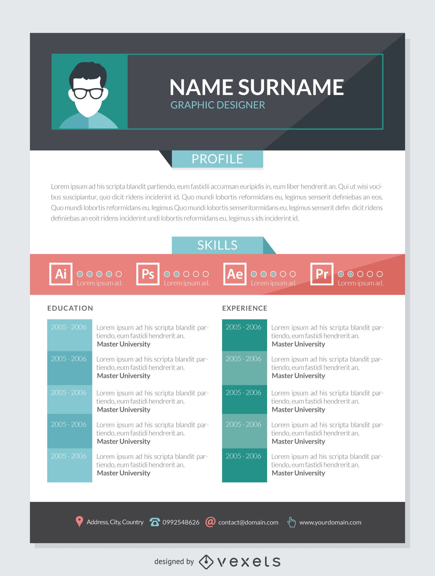 graphic designer cv mockup template vector
