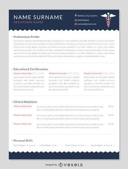 Modelo de maquete de currículo de enfermeira CV