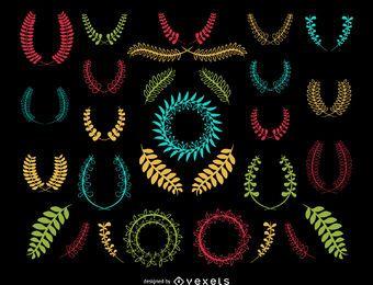 conjunto de coroa de flores colorido decorativo