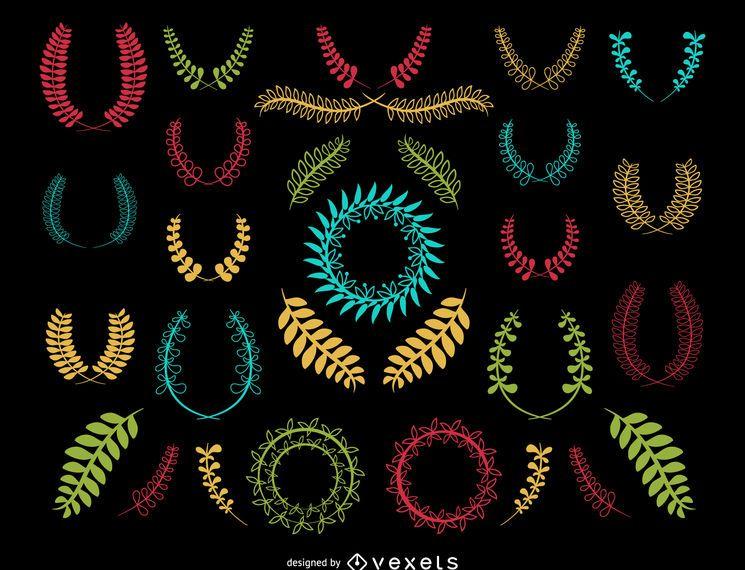 Guirnalda decorativa colorida conjunto