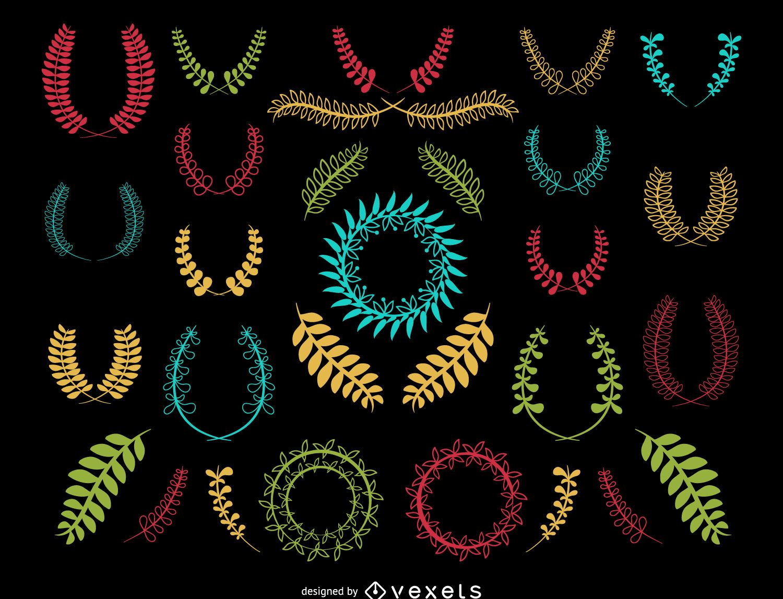 Colorful decorative wreath set