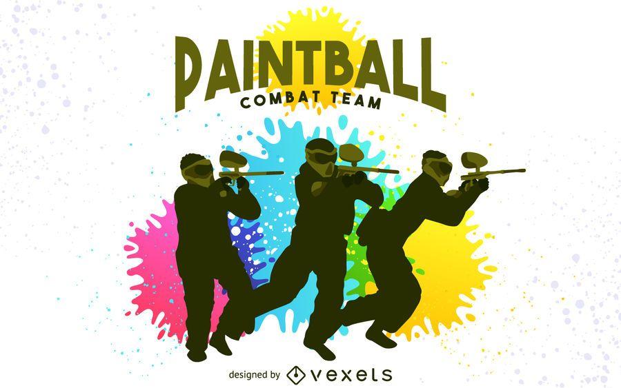 Cartaz de silhuetas de paintball