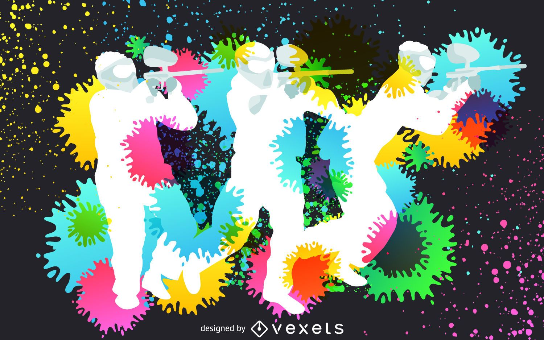 Paintball silhouettes splash