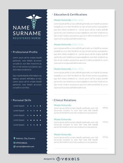 Nurse resume mockup template