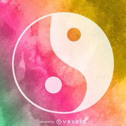 Watercolor yin yang symbol